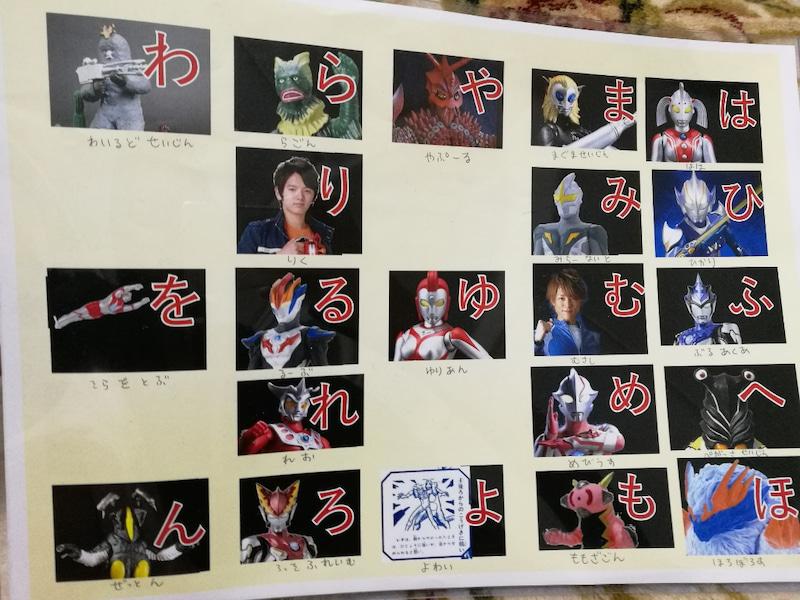 手作り教材知育ポスター:ウルトラマンのひらがな表(あいうえお表)